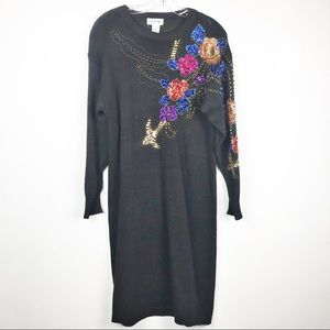 Vintage beaded sequined sweater dress womens large